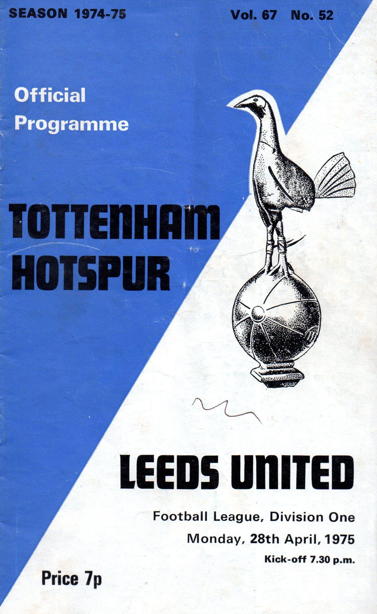 1974/5 : Spurs Programmes, The home of Tottenham Hotspur